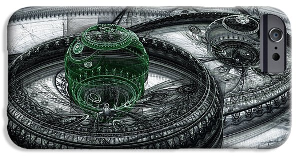 Abstract Digital Digital iPhone Cases - Dark Alien Landscape iPhone Case by Martin Capek