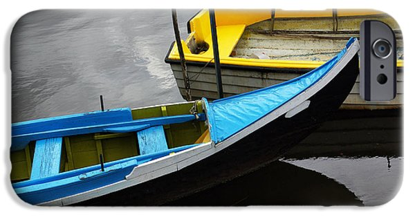 Green Canoe iPhone Cases - Blue and Yellow Boats iPhone Case by Carlos Caetano