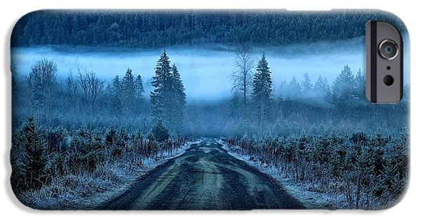 Eerie iPhone Cases - Blue and foggy and moody iPhone Case by Lynn Hopwood
