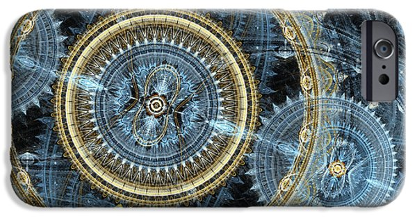Fractals Fractal Digital Art iPhone Cases - Blue and gold mechanical abstract iPhone Case by Martin Capek