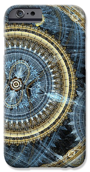 Blue and gold mechanical abstract iPhone Case by Martin Capek