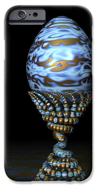 Surrealism Digital iPhone Cases - Blue and Golden Egg iPhone Case by Hakon Soreide