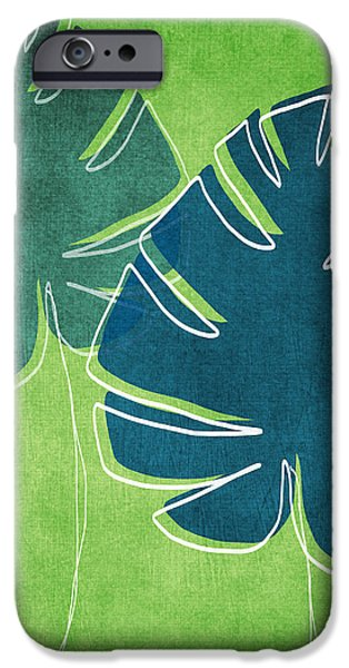 Blue and Green Palm Leaves iPhone Case by Linda Woods