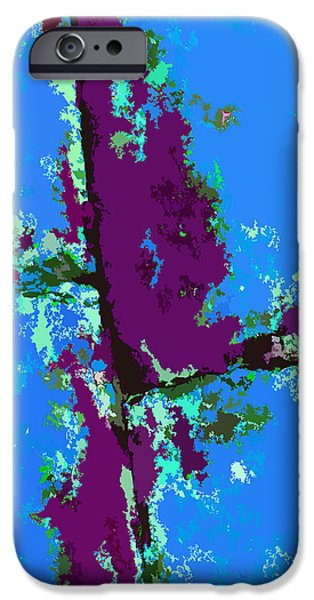 Abstractions Digital iPhone Cases - Blue and Magenta Abstraction iPhone Case by John Lautermilch
