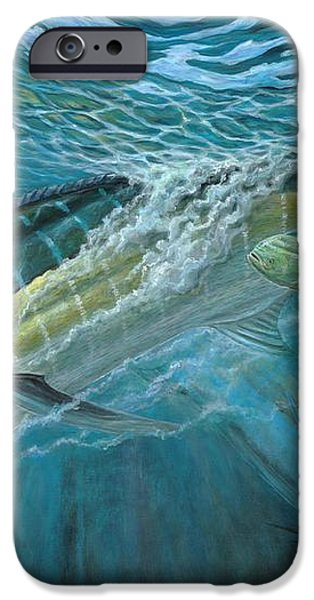 Blue And Mahi Mahi Underwater iPhone Case by Terry Fox