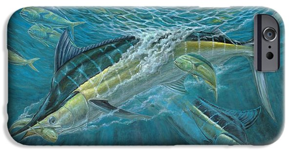 Marlin Azul iPhone Cases - Blue And Mahi Mahi Underwater iPhone Case by Terry Fox