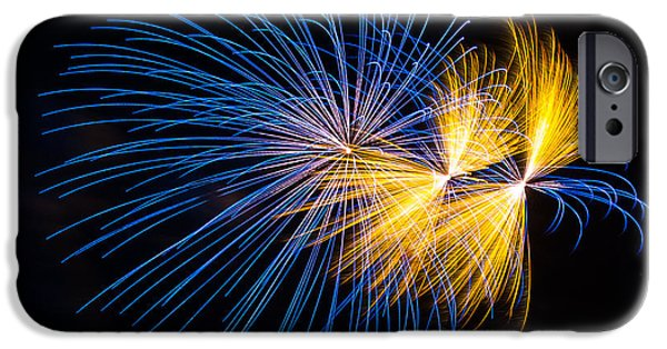 July 4th iPhone Cases - Blue and Orange fireworks iPhone Case by Paul Freidlund