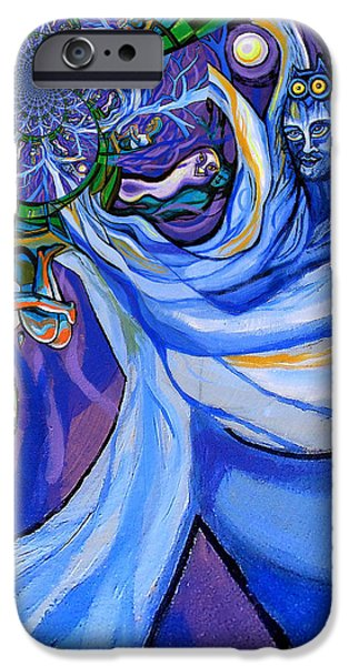 Blue and Purple Girl With Tree And Owl Upside Down iPhone Case by Genevieve Esson