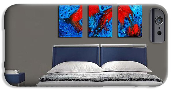 Blue And Red Paintings iPhone Cases - Blue And Red Abstract Hung As A Triptych iPhone Case by Sharon Cummings