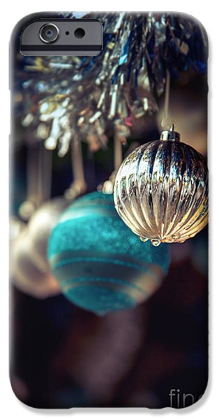 Christmas iPhone Cases - Blue and silver baubles. iPhone Case by Jane Rix