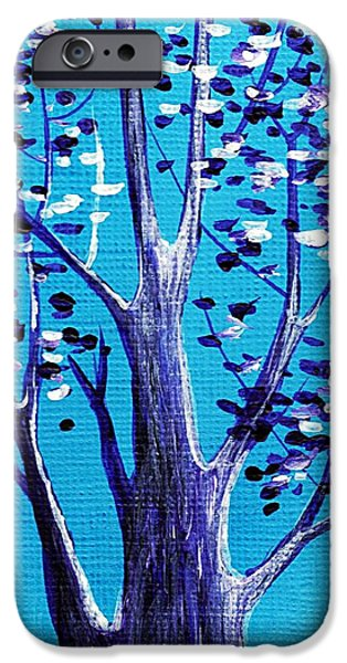 Aceo iPhone Cases - Blue and White iPhone Case by Anastasiya Malakhova