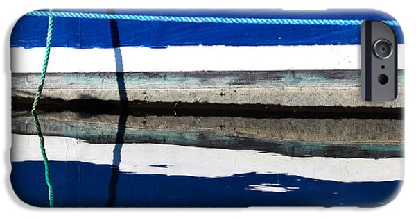 Abstract Seascape iPhone Cases - Blue and White Boat Waterline with Rope iPhone Case by Katherine Gendreau