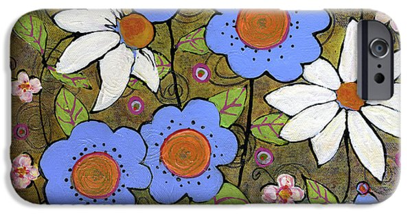 Blue Paintings iPhone Cases - Blue and White Mod Flowers iPhone Case by Blenda Studio