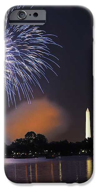 Blue and White O'er Washington D.C. iPhone Case by Steven Barrows