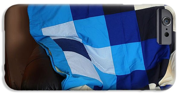 Black Tapestries - Textiles iPhone Cases - Blue and White Patchwork Quilt iPhone Case by Barbara Griffin