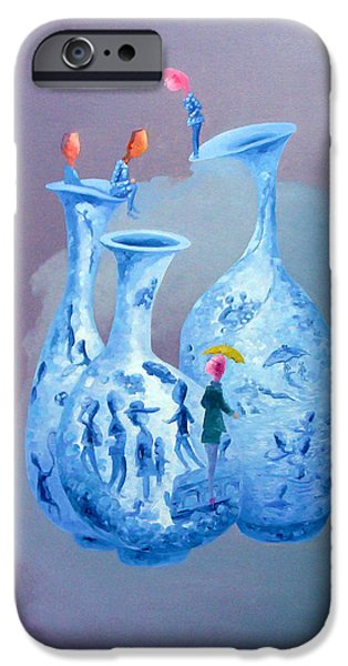 Blue And White Porcelain iPhone Cases - Blue And White Porcelain 2 Original Oil Painting Modern Art Fantasy iPhone Case by Xu Bin