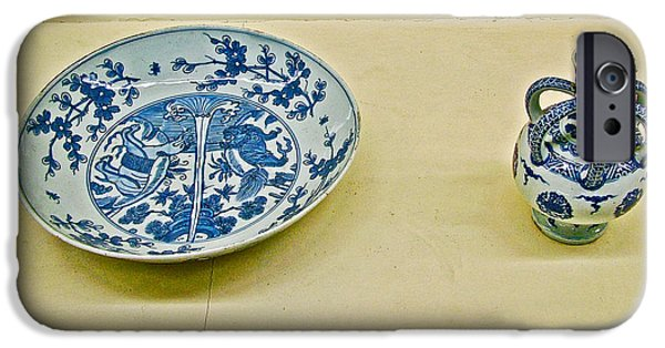 Blue And White Porcelain iPhone Cases - Blue and White Porcelain circa 1570 in Topkapi Palace in Istanbul-Turkey  iPhone Case by Ruth Hager