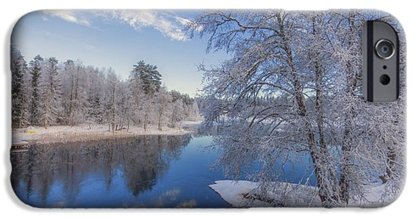 Landscape In Norway iPhone Cases - Blue and White iPhone Case by Rose-Maries Pictures
