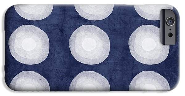 Blue Abstracts iPhone Cases - Blue and White Shibori Balls iPhone Case by Linda Woods