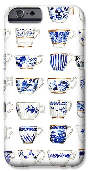 Blue And White Porcelain iPhone Cases - Blue and White Teacups Collage iPhone Case by Laura Row Studio