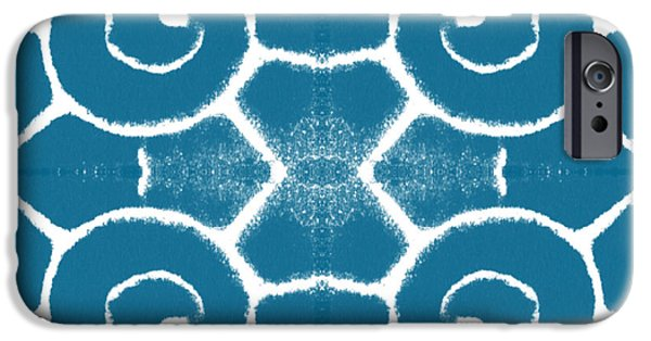 Wave iPhone Cases - Blue and White Wave Tile- abstract art iPhone Case by Linda Woods