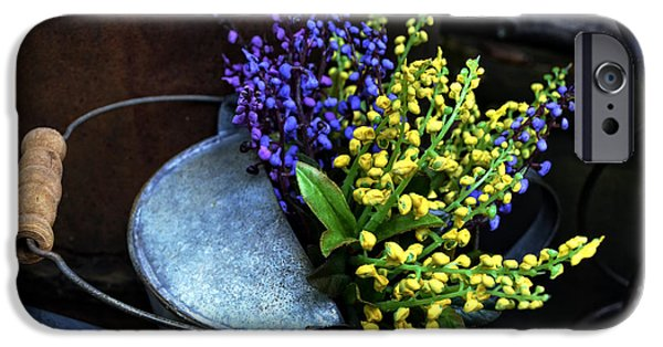 Shed iPhone Cases - Blue and Yellow Flowers iPhone Case by Mary Machare