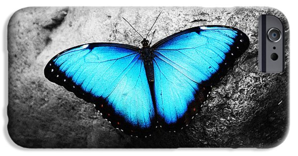 Angel Blues iPhone Cases - Blue angel butterfly iPhone Case by Sumit Mehndiratta