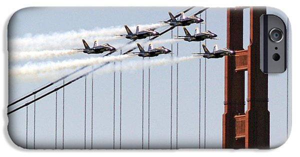 Bill Gallagher Photographs iPhone Cases - Blue Angels and the Bridge iPhone Case by Bill Gallagher