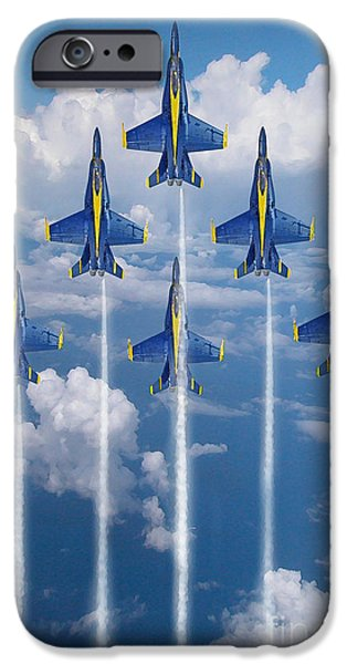 Angel Blues iPhone Cases - Blue Angels iPhone Case by J Biggadike
