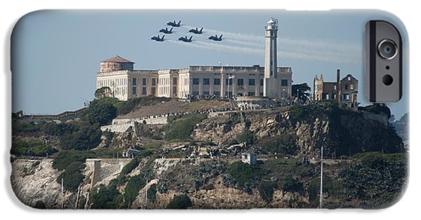 Alcatraz iPhone Cases - Blue Angels over Alcatraz iPhone Case by Mountain Dreams