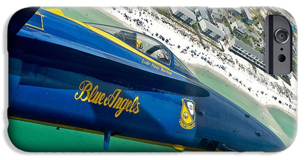 Angel Blues iPhone Cases - Blue Angels over Pensacola Beach iPhone Case by Specialist 2nd Class Andrea Perez
