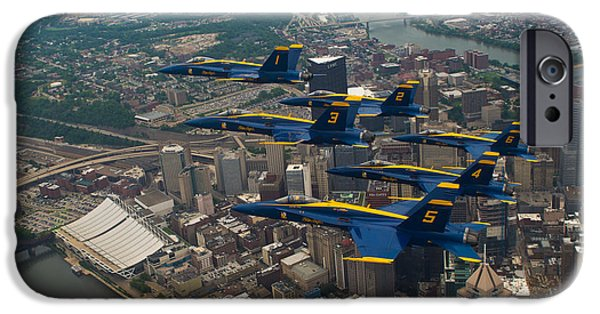 Angel Blues Photographs iPhone Cases - Blue Angels over Pittsburg iPhone Case by Specialist 2nd Class Kathryn E Macdonald