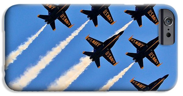 Angel Blues iPhone Cases - Blue Angels Overhead iPhone Case by Benjamin Yeager