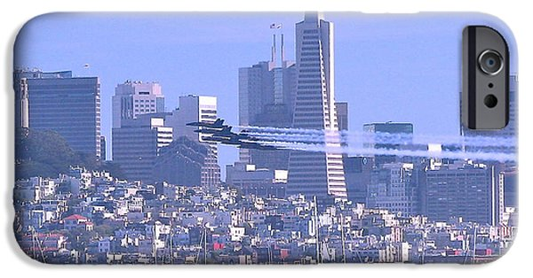 Jet Pyrography iPhone Cases - Blue Angels Streak past San Francisco iPhone Case by DUG Harpster