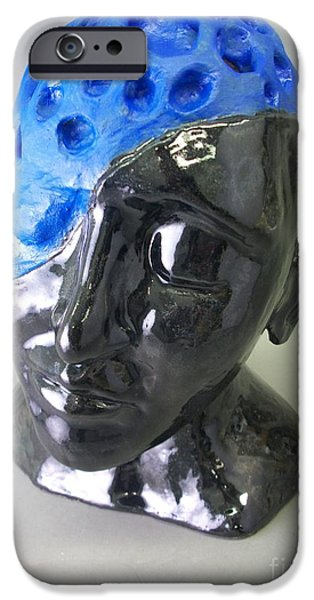 Thinking Sculptures iPhone Cases - Blue iPhone Case by Anthony George