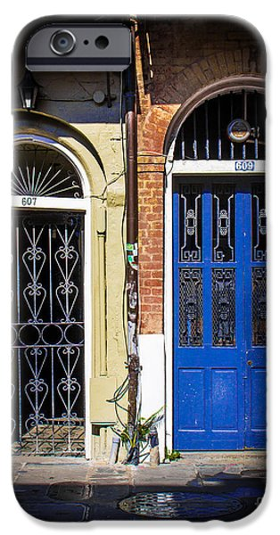 Historical Pictures iPhone Cases - Blue Arch Door iPhone Case by Perry Webster