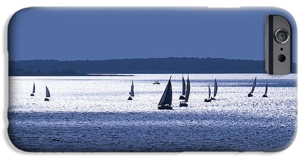 Blue Sailboats iPhone Cases - Blue Armada II iPhone Case by Douglas Pittman