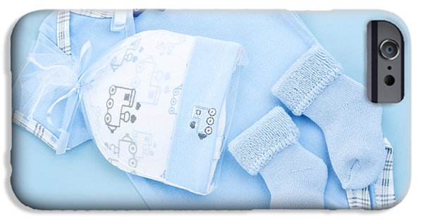 Pastel iPhone Cases - Blue baby clothes for infant boy iPhone Case by Elena Elisseeva