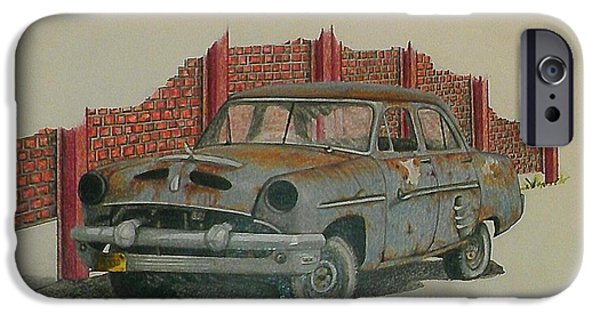 Rust Drawings iPhone Cases - Blue Baby iPhone Case by Lew Davis