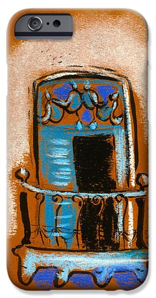 Balcony Pastels iPhone Cases - Blue Balcony iPhone Case by Danyl Cook