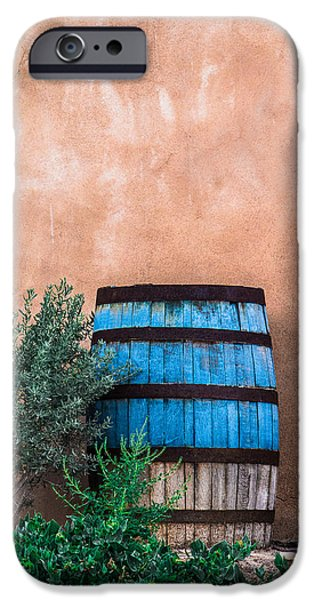 Rain Barrel iPhone Cases - Blue Barrel With Adobe iPhone Case by Steven Bateson
