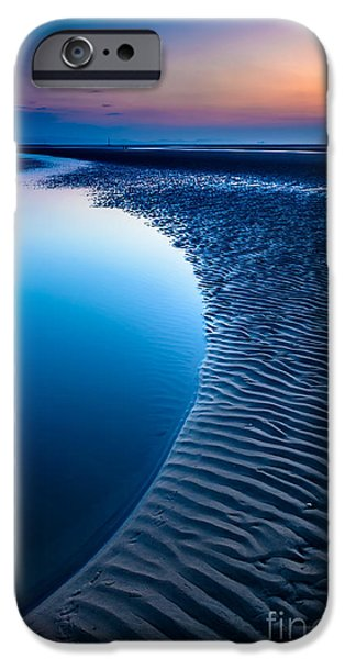 Coastline Digital Art iPhone Cases - Blue Beach  iPhone Case by Adrian Evans