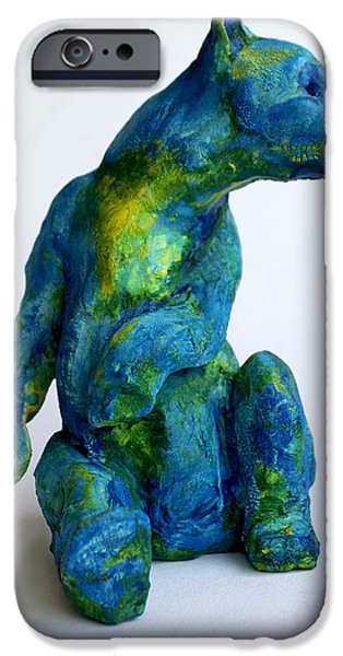 Animal Sculptures iPhone Cases - Blue Bear iPhone Case by Derrick Higgins