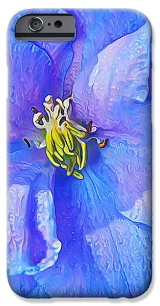 Floral Digital Art Digital Art iPhone Cases - Blue Beauty iPhone Case by Bill Caldwell -        ABeautifulSky Photography