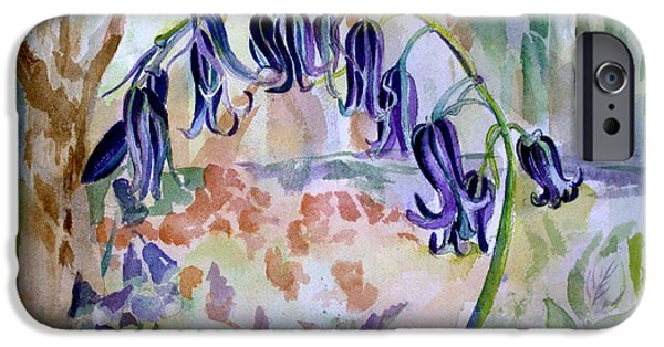 Botanical Drawings iPhone Cases - Blue Bells iPhone Case by Mindy Newman