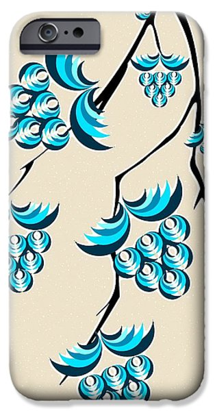 Berry iPhone Cases - Blue Berries Branch iPhone Case by Anastasiya Malakhova