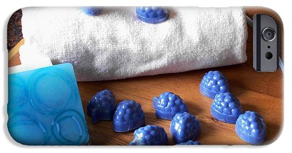 Berry iPhone Cases - Blue Berries Mini Soaps iPhone Case by Anastasiya Malakhova