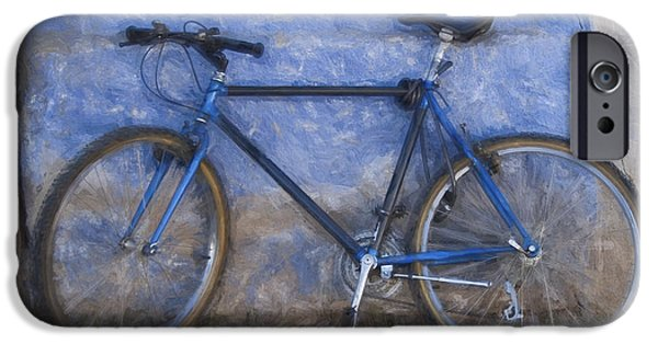 Vivid Mixed Media iPhone Cases - Blue Bike Blue Wall Painterly Effect iPhone Case by Carol Leigh