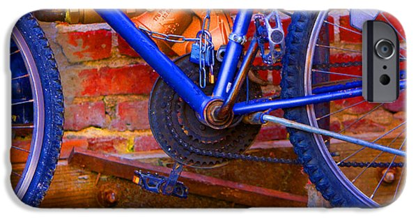 Gear Pyrography iPhone Cases - Neon Bike iPhone Case by Jerry Hetrick