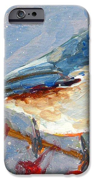 Blue Bird in Winter - Tuft titmouse iPhone Case by Patricia Awapara